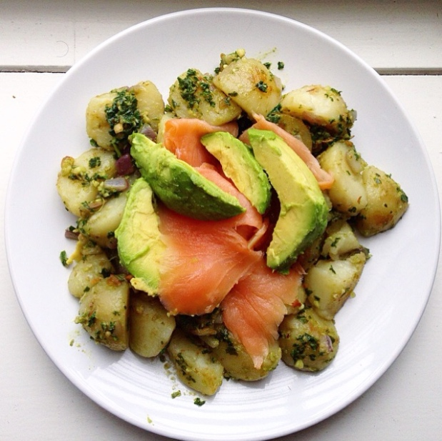 Kicking It Whole School - Pesto Hash with Smoked Salmon