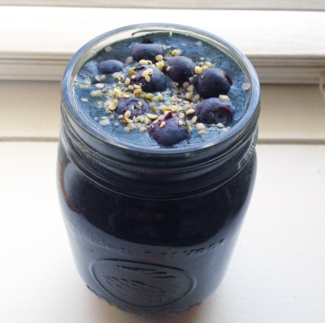 Blueberry Grape Spinach Smoothie | Kicking It Whole School